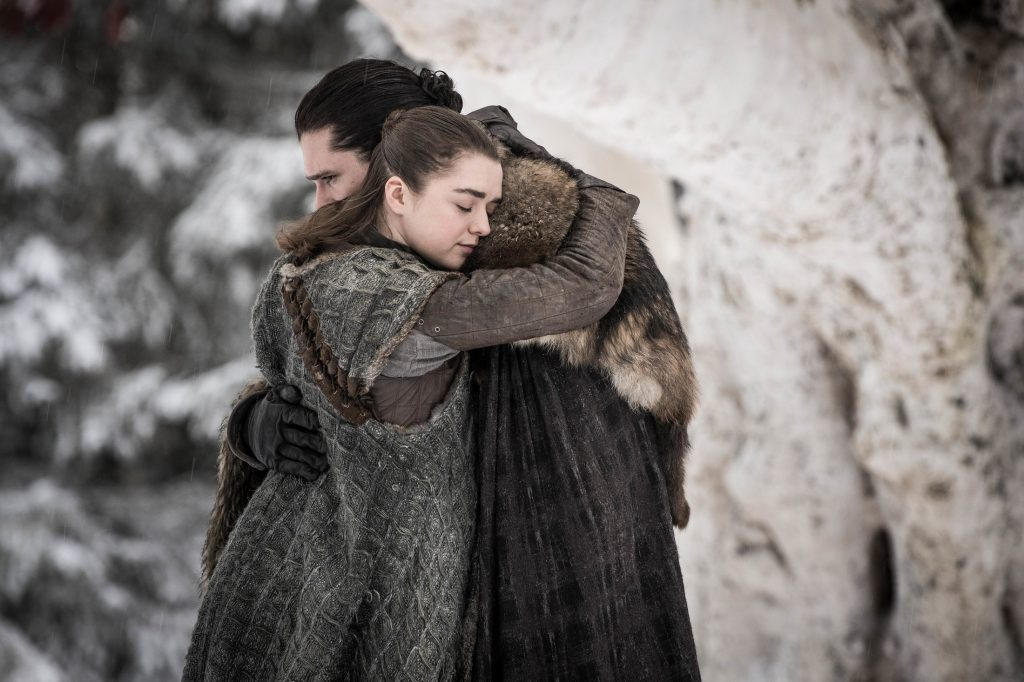 Jon Arya reunion godswood Winterfell