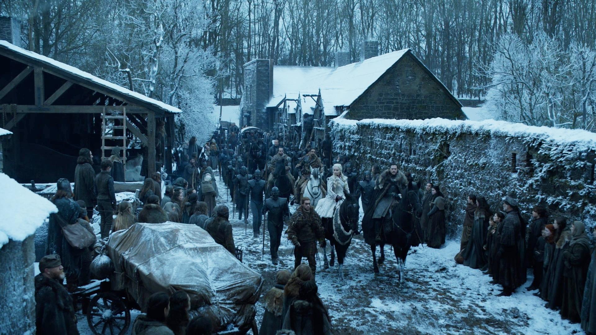 Jon Snow Daenerys Targaryen Unsullied Winterfell 801 Season 8
