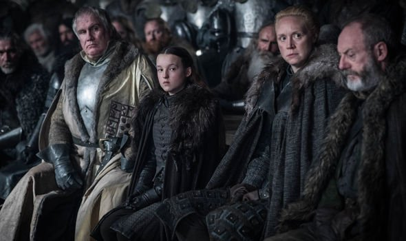 Rupert Vansittart (Yohn Royce), Lyanna Mormont (Bella Ramsey), Brienne of Tarth (Gwendoline Christie), Davos Seaworth (Liam Cunningham). Photo: HBO, via Express.