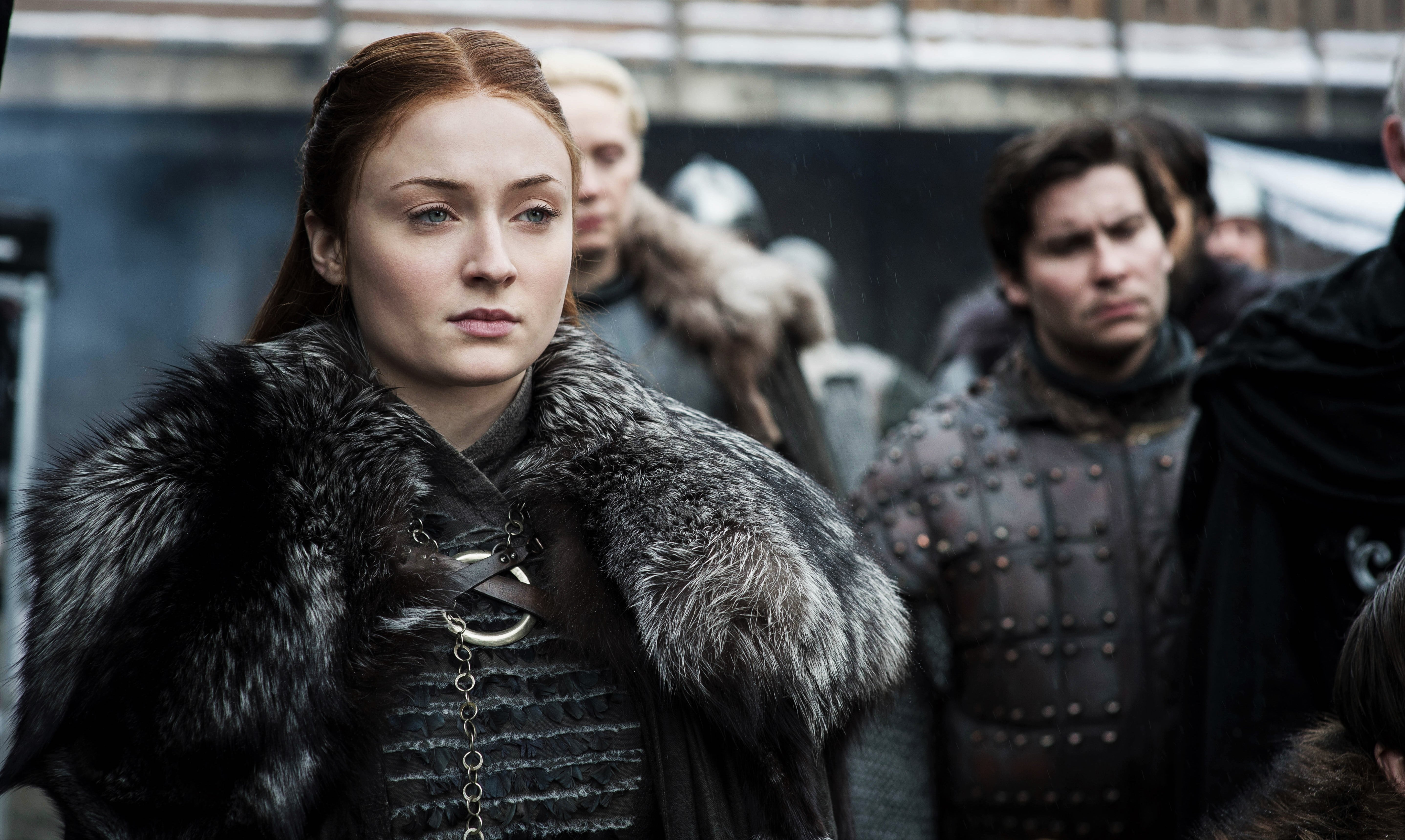 Sansa Stark Brienne of Tarth Podrick Payne Bran Stark Maester Wolkan Winterfell Courtyard Season 8