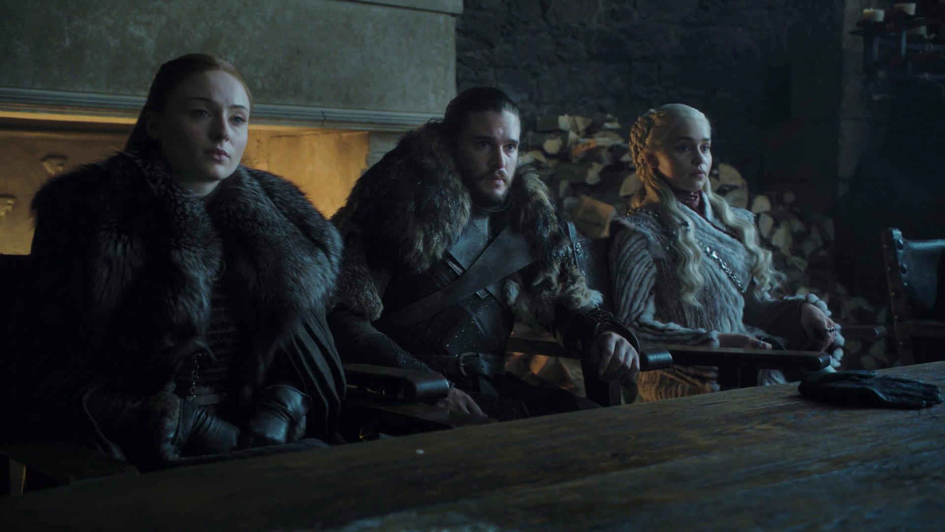 Sansa Stark Jon Snow Daenerys Targaryen Winterfell Hall Season 8 801