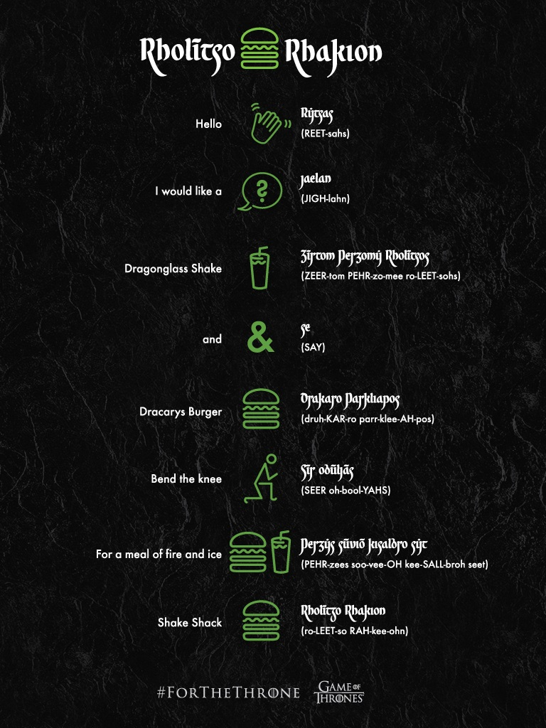 Valyrian Pronunciation Guide Shake Shack