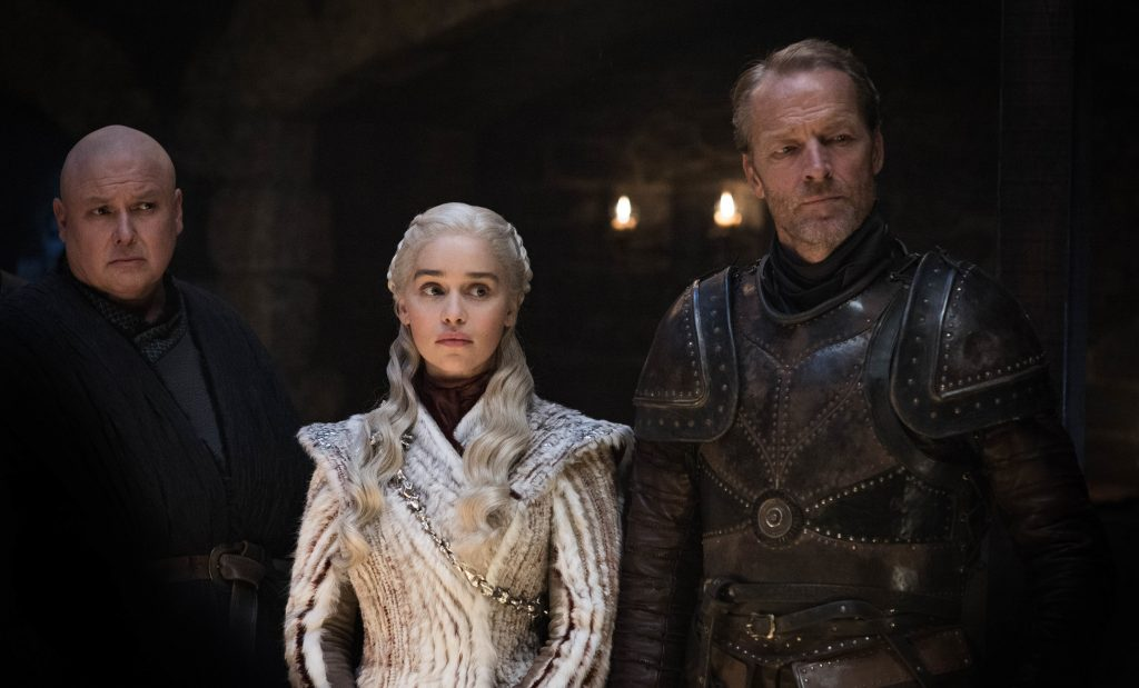 Jorah and Dany are looking solemnly at something (or someone?). Photo: Helen Sloan / HBO