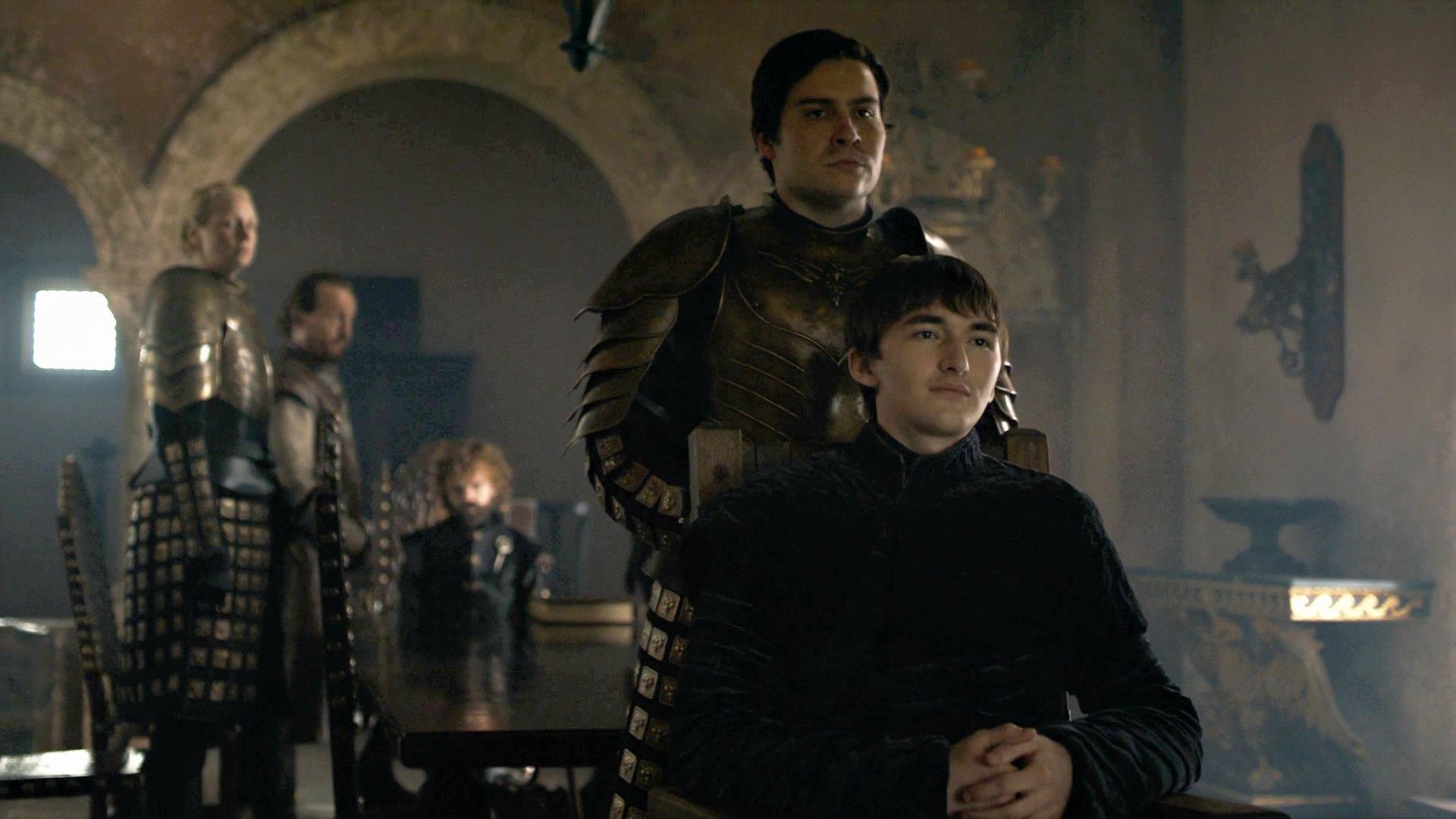 Bran Stark King Red Keep King's Landing Season 8 806 Iron Throne Podrick Brienne Bronn Tyrion