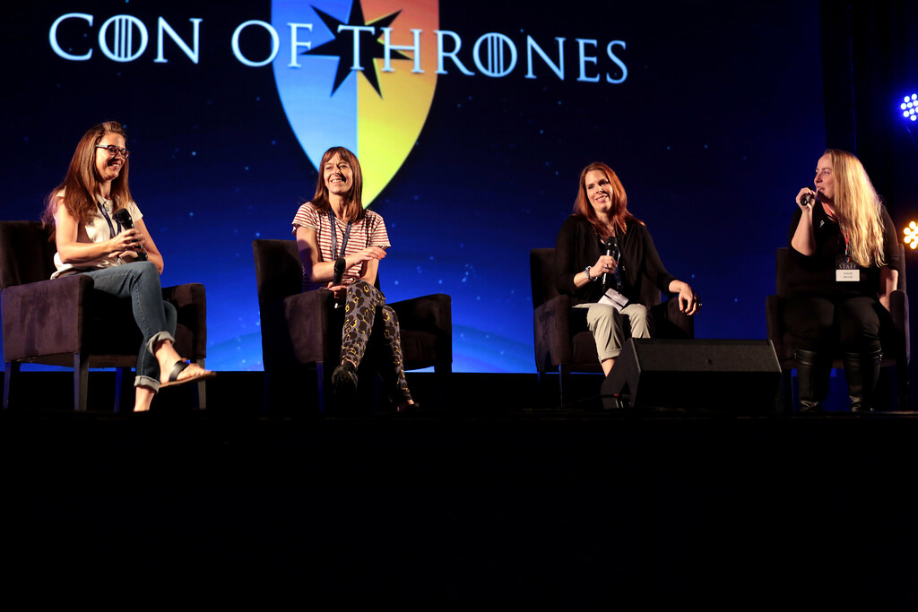 Discussing the mothers of Westeros with Laura Stone, Kate Dickie (Lysa Arryn), and Sue the Fury