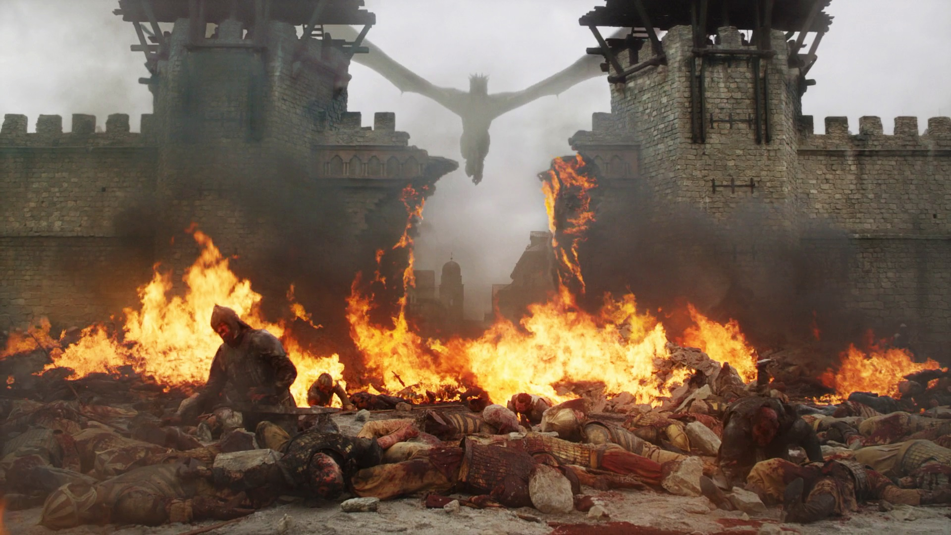 King's Landing Battle 805 Season 8 The Bells Daenerys Dany Targaryen Drogon Gates Golden Company