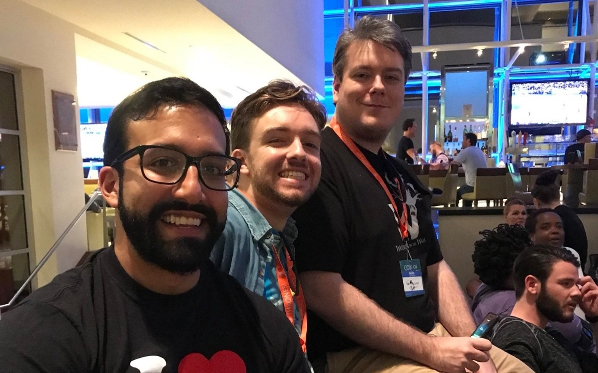 Manu, Bookshelfstud, and JoeMagician at Con of Thrones 2018