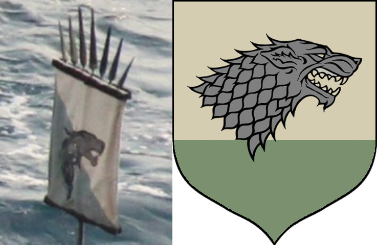 To the left, the prequel's ancient Stark sigil; to the right, the well-known Game of Thrones design.