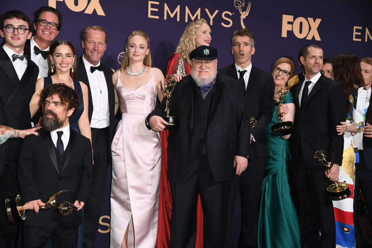 George R.R. Martin with Game of Thrones cast and crew at the 2019 Emmys. Photo by AFP.