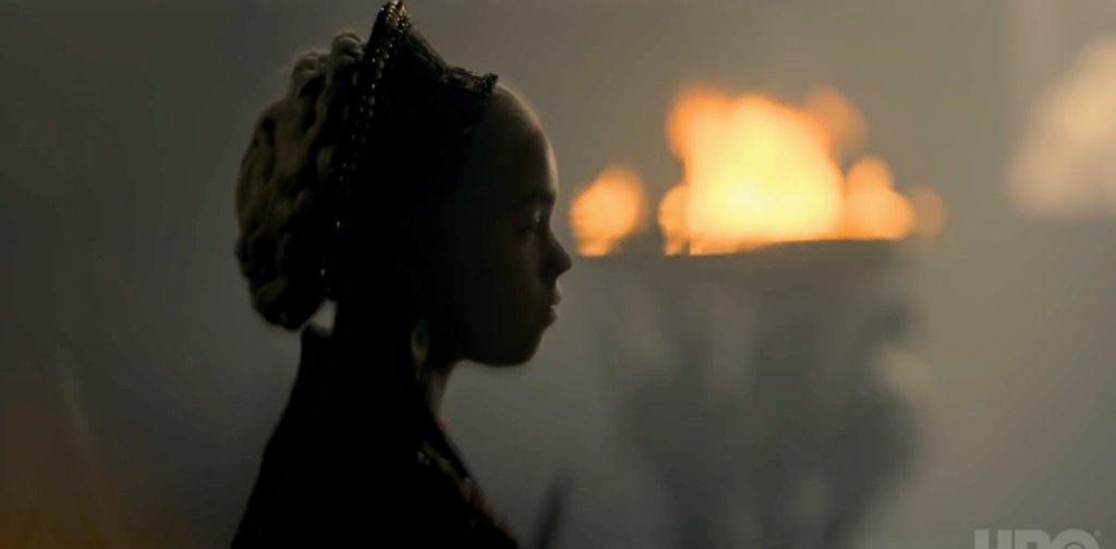 A beautiful Rhaenyra profile, followed by her looking at the camera, as seen at the top