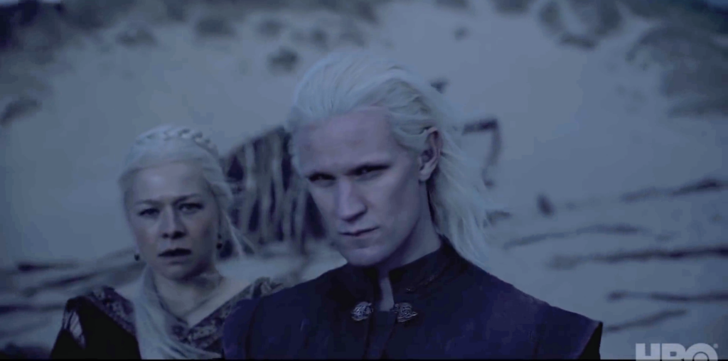 the Rogue Prince and Emma D'Arcy's Rhaenyra Targaryen look to the sea;