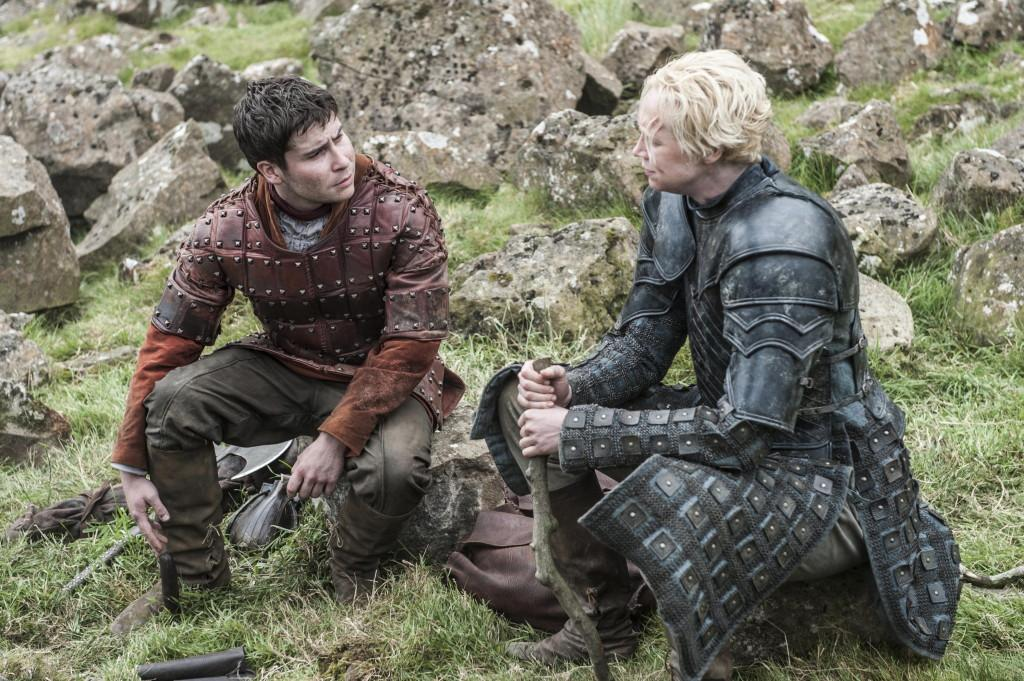 Daniel Portman as Podrick Payne and Gwendoline Christie as Brienne of Tarth _ photo Helen Sloan_HBO