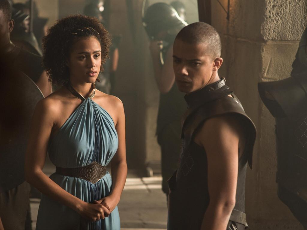 Nathalie Emmanuel as Missandei and Jacob Anderson as Grey Worm _ photo Helen Sloan_HBO