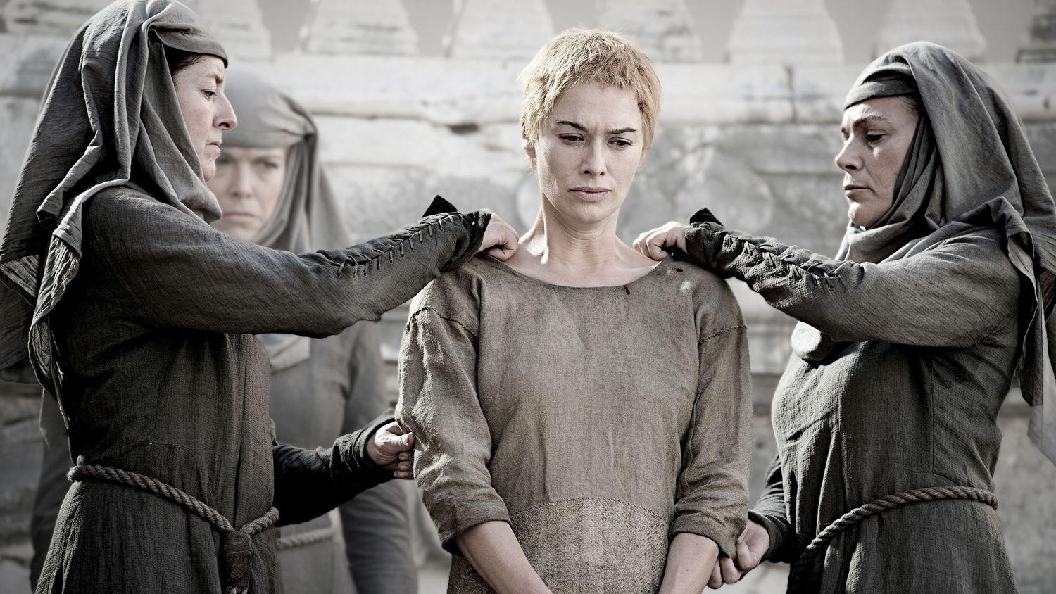 Lena Headey And More Discuss Cerseis Walk Myrcella In The Game Inside Wedges Johanna Black Cersei Septas