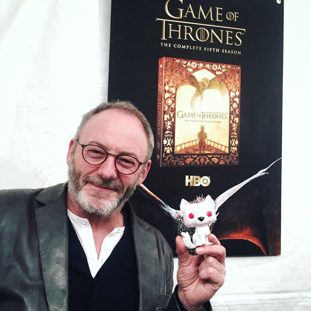 Cunningham, posing with a Pop! Ghost at the event. Photo: Twitter.com/GameofThrones