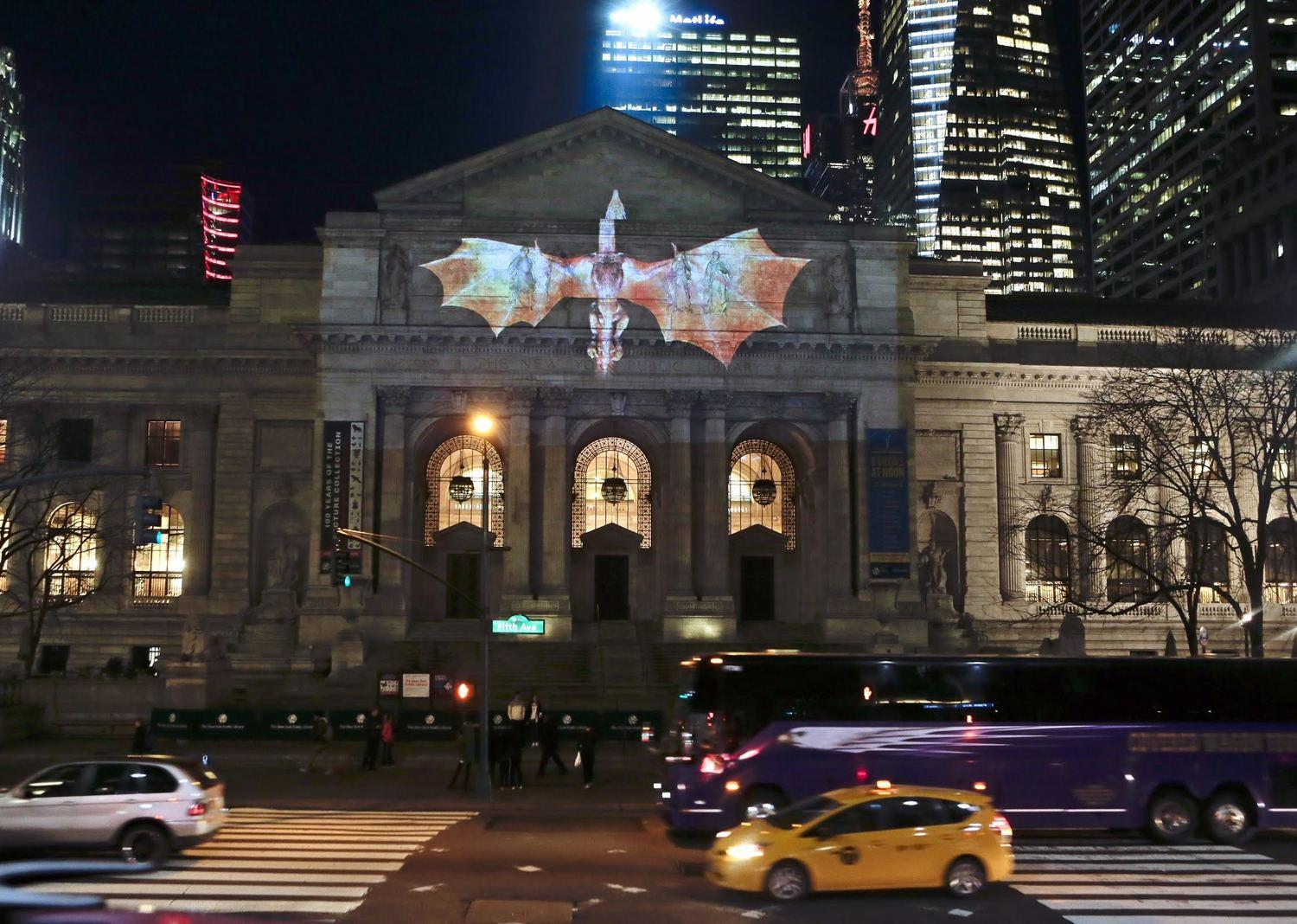 The dragon attacks the New York Public Library. Photo: HBO/Ray Stubblebine