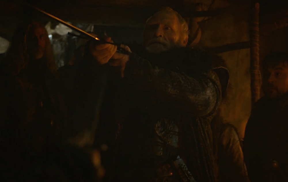 Lord Mormont being attacked