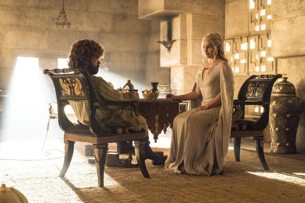 "Tyrion Lannister and Daenerys Targaryen discuss the invasion of Westeros in ""Hardhome"""
