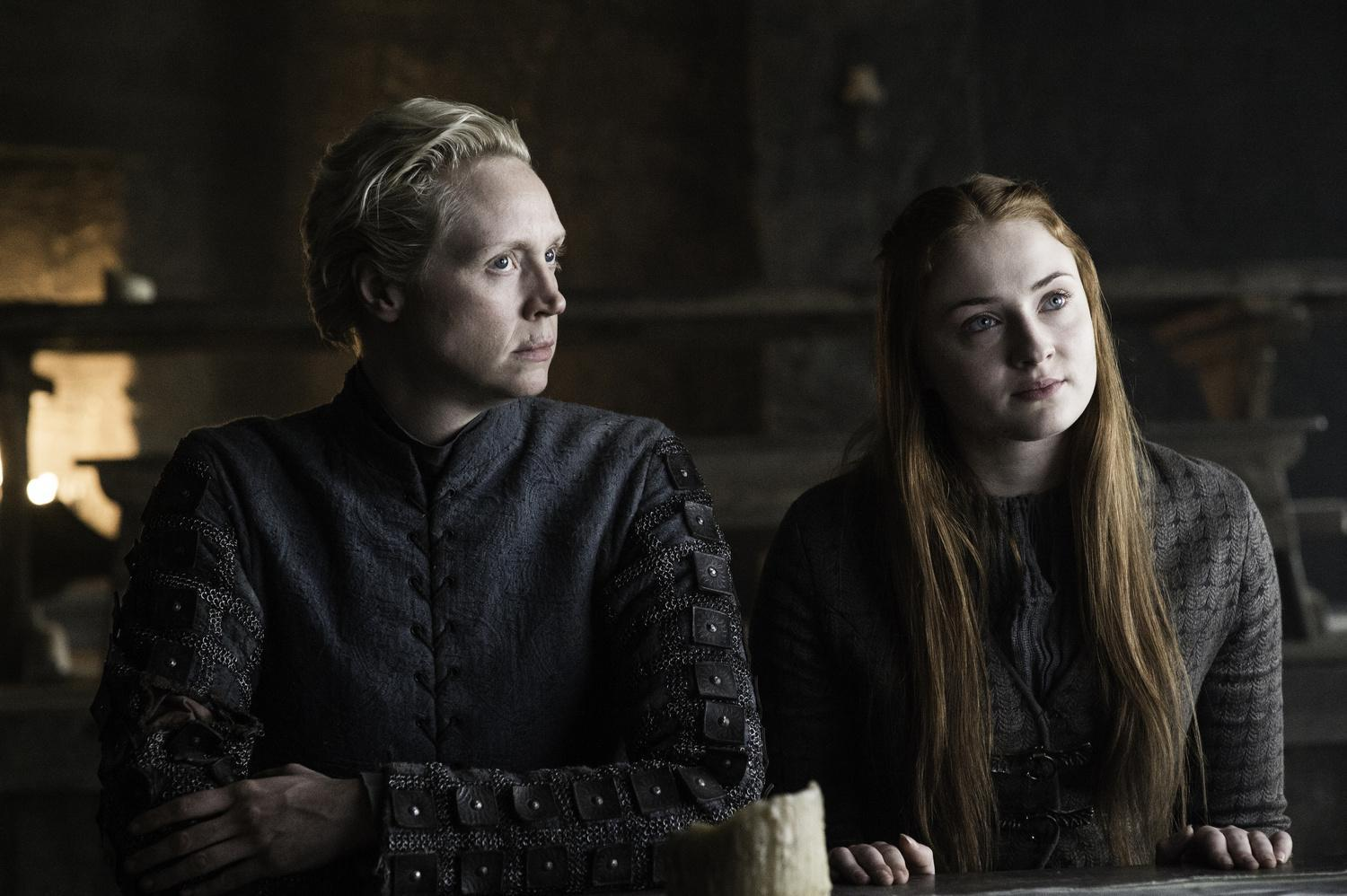 Photo: Gwendoline Christie as Brienne of Tarth and Sophie Turner as Sansa Stark Credit: Helen Sloan/HBO