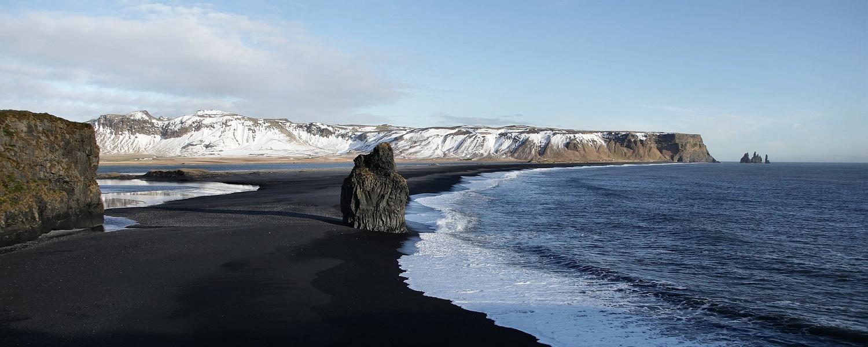Reynisfjara, the Black Sand Beach, in Vík, Iceland