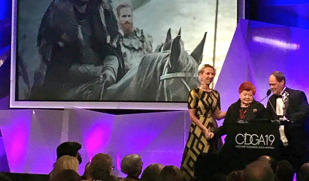 Michele Clapton and April Ferry receive their award at the 19th CDGA