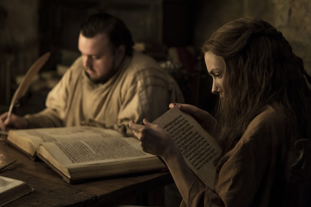 Samwell Tarly (John Bradley-West) and Gilly (Hannah Murray) studying at the Citadel / Photo: Helen Sloan/HBO