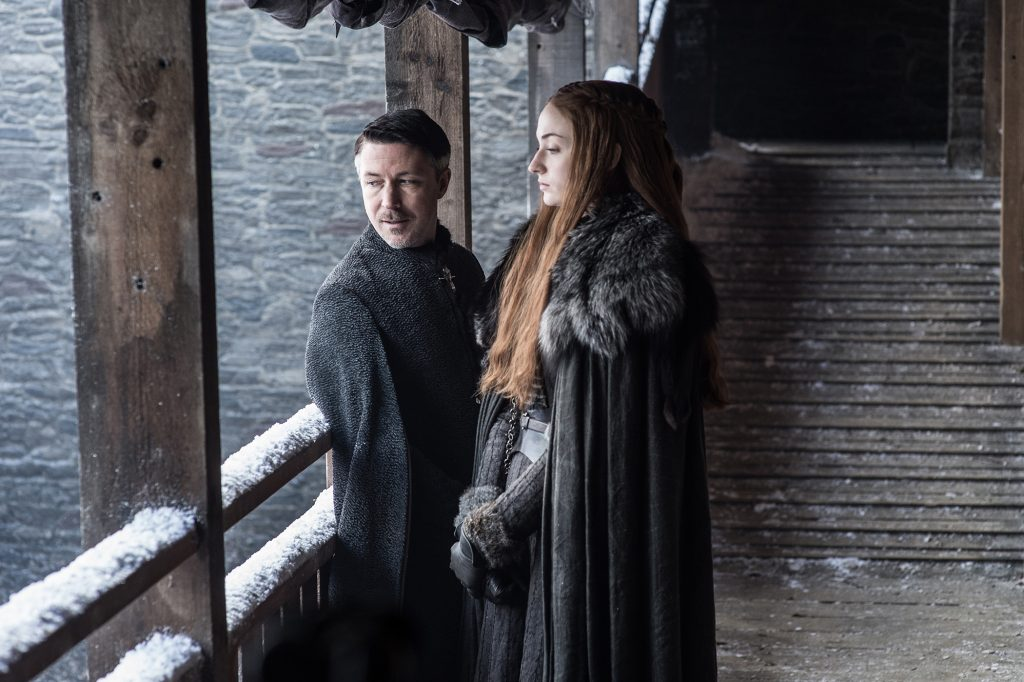 Littlefinger (Aidan Gillen) and Sansa (Sophie Turner) in Winterfell / Photo: Helen Sloan/HBO
