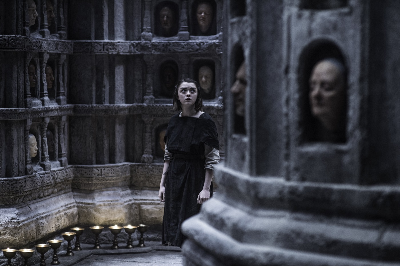 Arya in the Hall of Faces on Game of Thrones