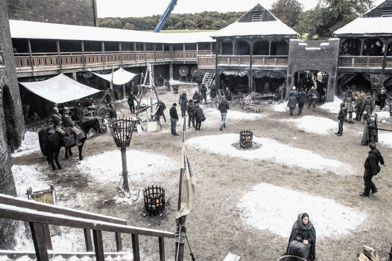 The Winterfell set during filming.