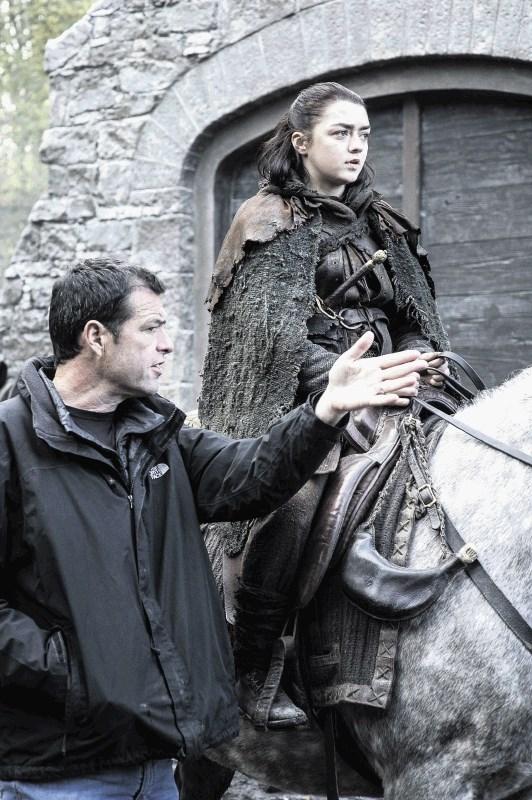Maisie Williams as Arya Stark, with director Mark Mylod. Photo: HBO / Helen Sloan