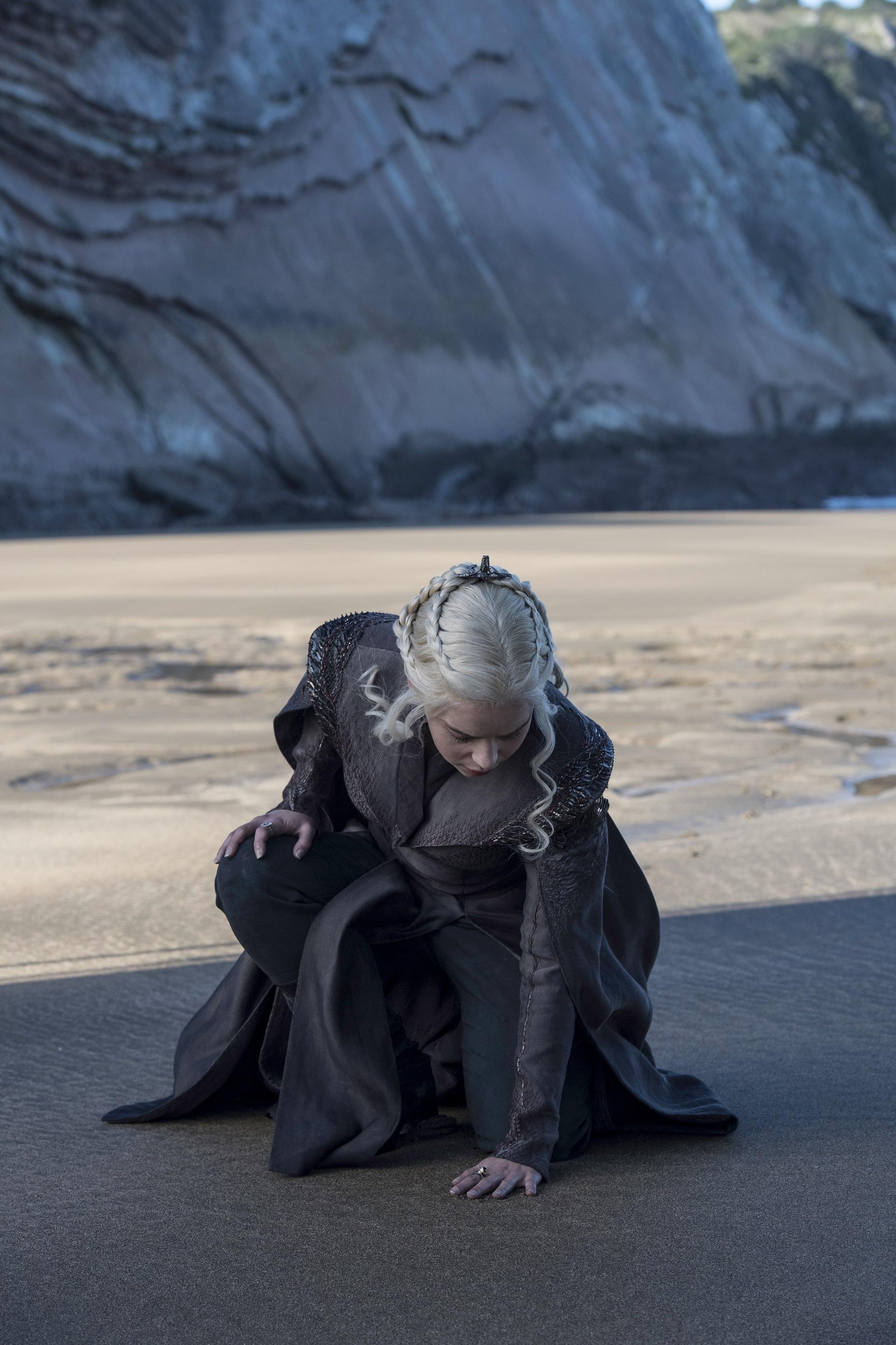 Emilia Clarke as Daenerys Targaryen touches Westeros. Photo: HBO
