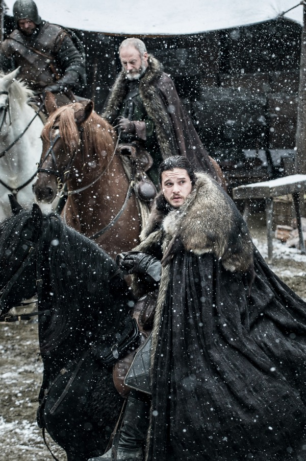 Kit Harington as Jon Snow and Liam Cunningham as Davos in Winterfell. Photo: HBO