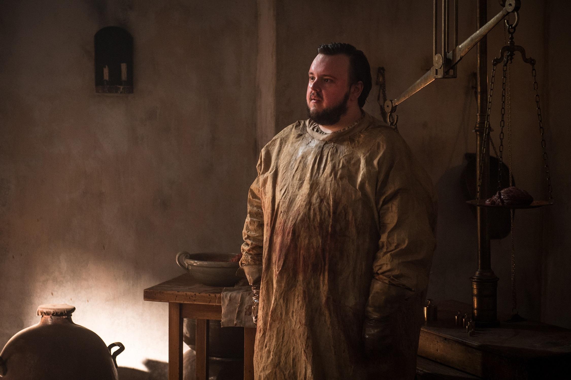 John Bradley as Samwell Tarly, bloody, at the Citadel. Photo: HBO