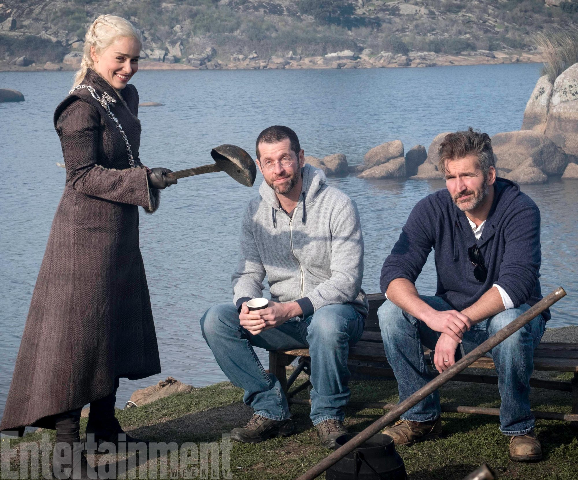 Dan Weiss and David Benioff teased by Emilia Clarke during filming