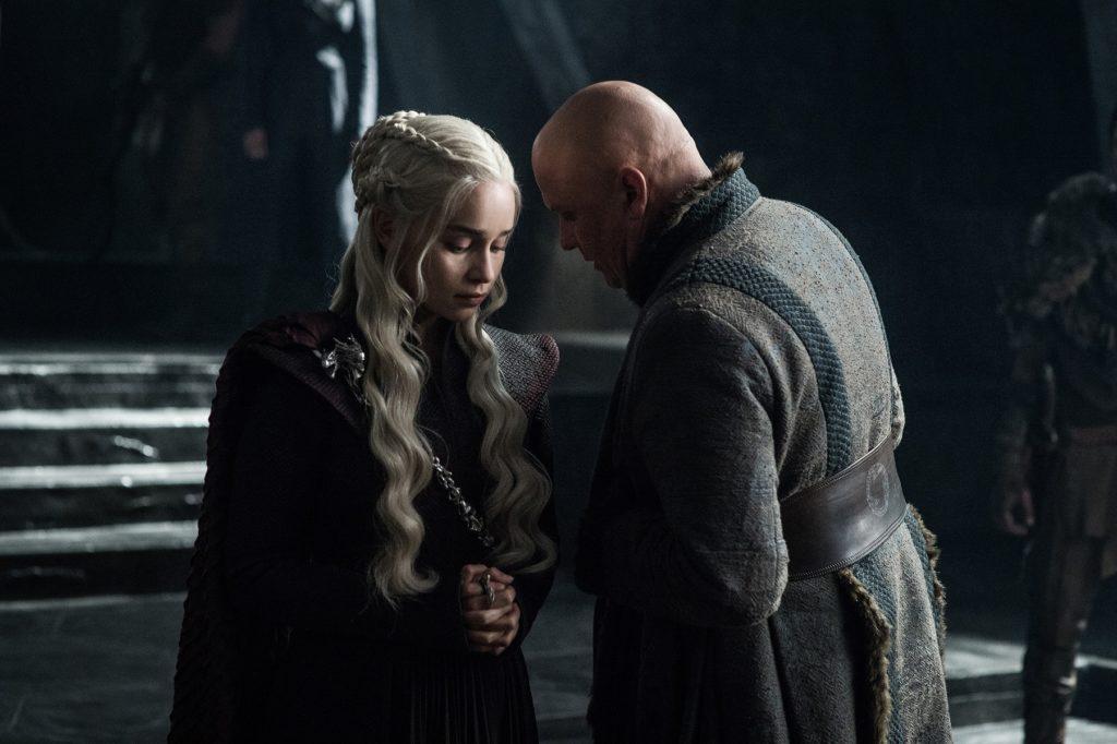 Emilia Clarke as Daenerys Targaryen and Conleth Hill as Varys. Photo: HBO
