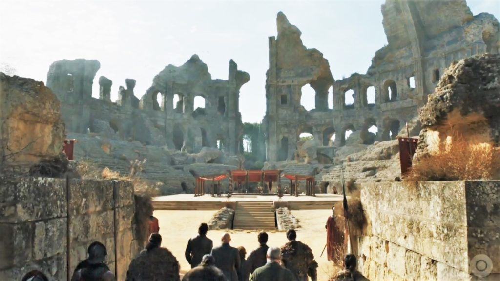 "Itálica's amphitheater as the Dragonpit of King's Landing in ""The Dragon and the Wolf"""