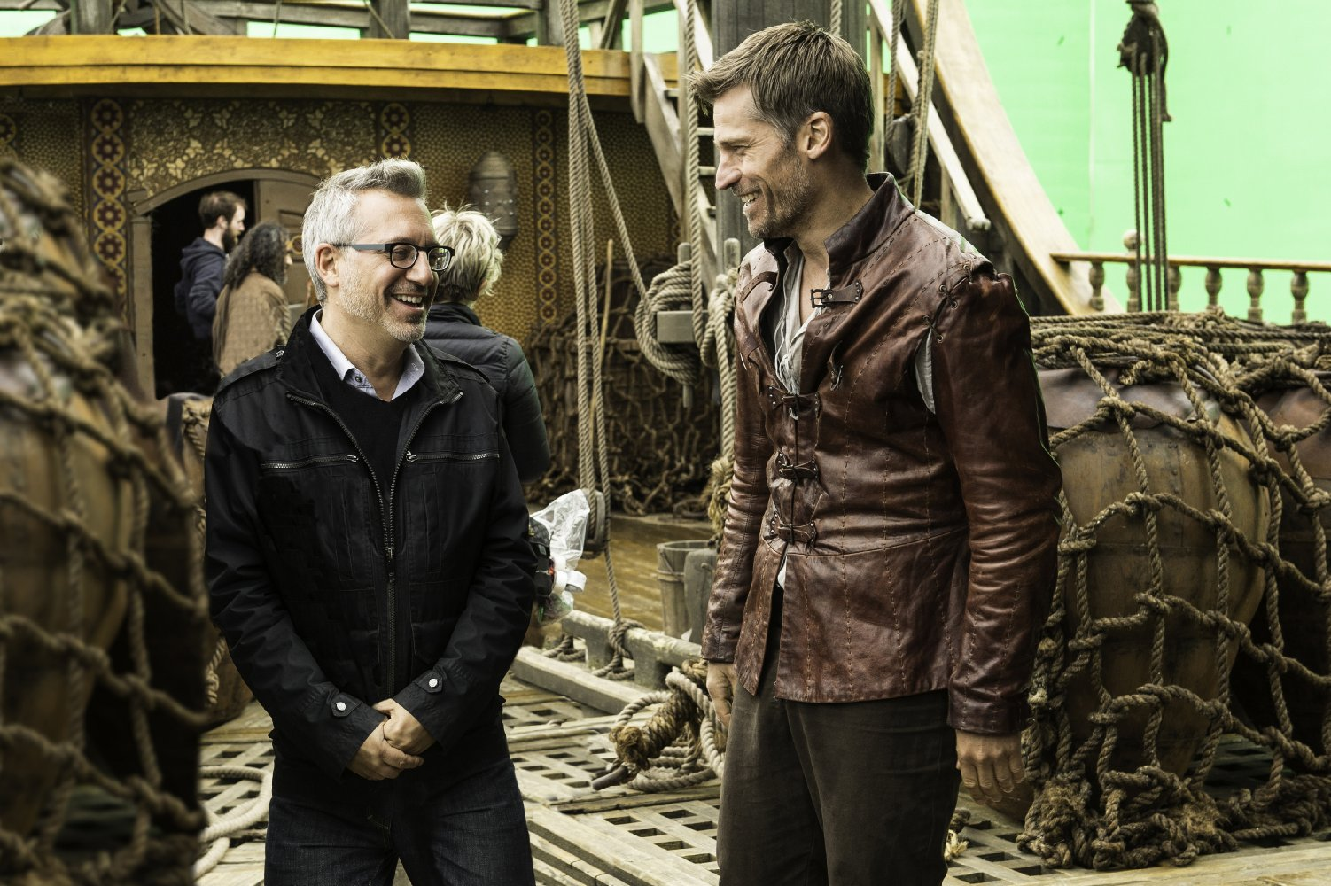 """Jeremy Podeswa, left, with Nikolaj Coster-Waldau on the set of episode 1 of season 6, """"The Red Woman,"""" in 2016."""