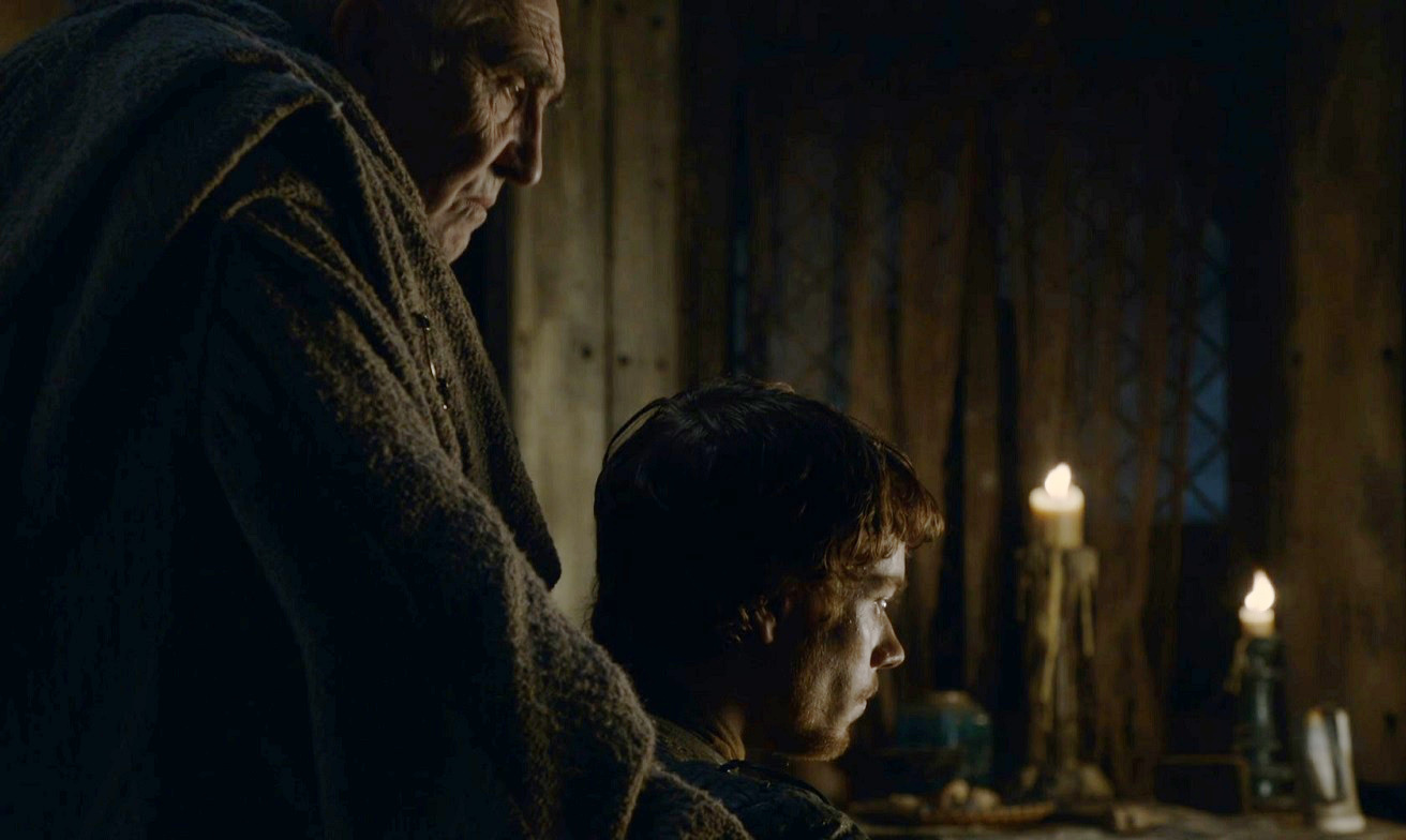 Maester Luwin and Theon Valar Morghulis