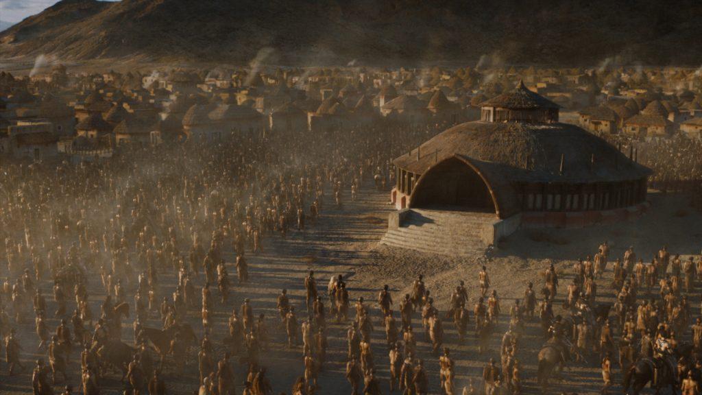 Huts not unlike those seen in Vaes Dothrak have reportedly been seen on set in Titanic Studios in Belfast.