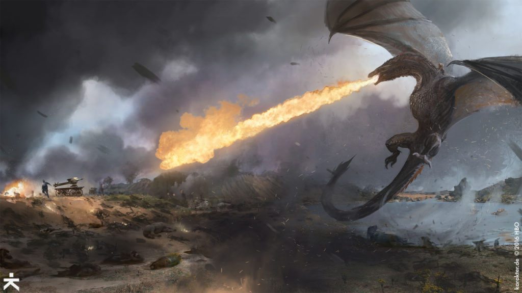 Karakter Concept Art Loot Train Battle Field of Fire Drogon Daenerys Bronn
