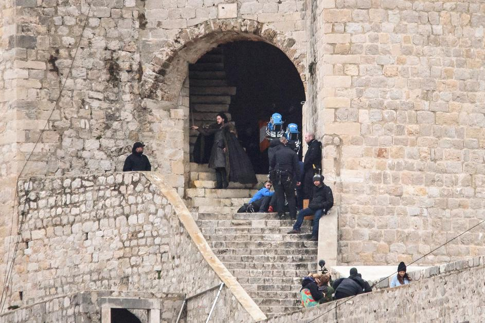 Kit Harington on the walls of Dubrovnik, the set for today's shoot