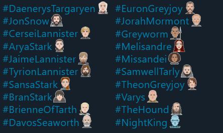 Game of Thrones Season 8 Emojis