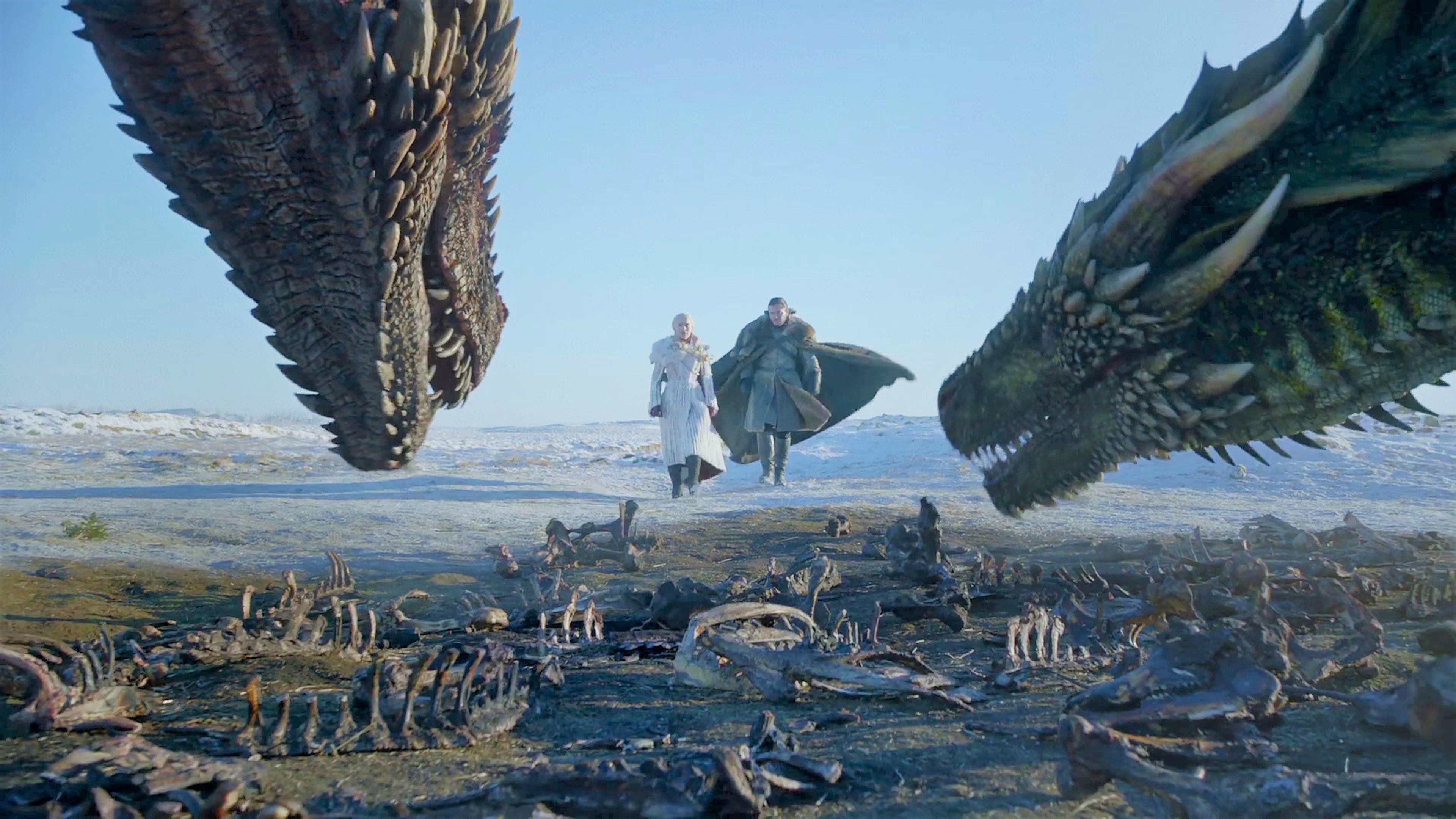 38. Season 8 Trailer Jon Snow Daenerys Targaryen Drogon Viserion 1