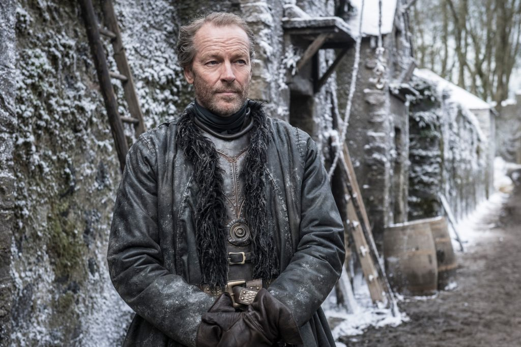 Iain Glen (Jorah Mormont) in Winter Town set, near Winterfell. Photo: HBO