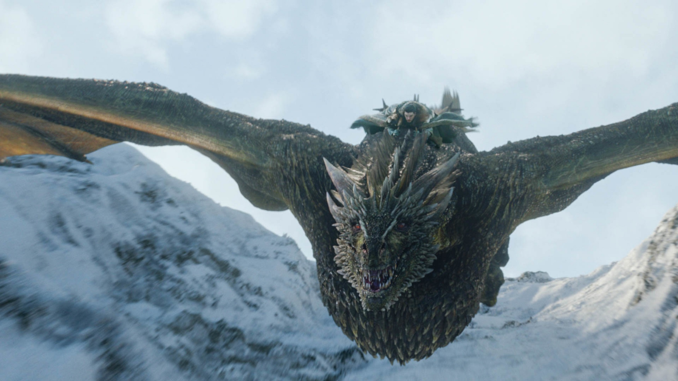 Jon Rhaegal flying Winterfell episode