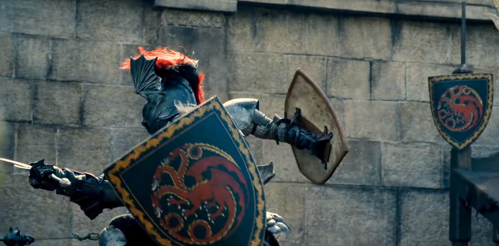 A tourney combat with lots of Targaryen regalia and a truly amazing winged helmet